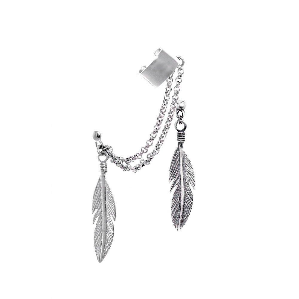 Серьги каффы Перья из серебра с чернением