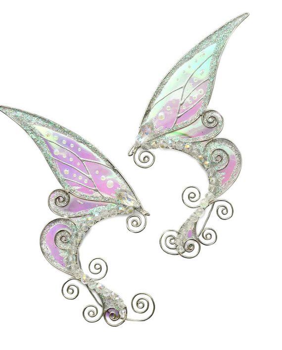 Каффы ушки феи белые серьги