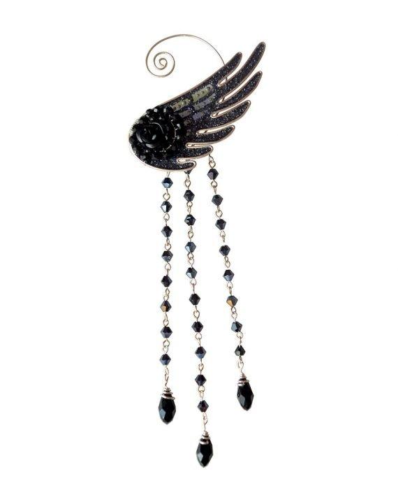 Кафф ангел с подвесками черный купить