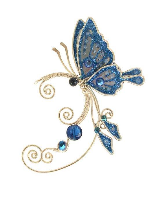 Кафф бабочка синий на ушко