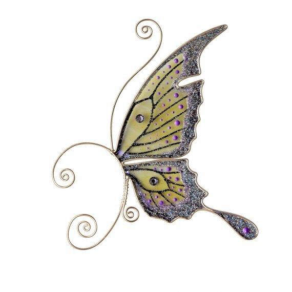 Кафф бабочка заколка черная серьги