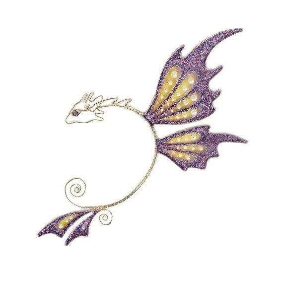 Кафф дракон бабочка заколка сиреневый купить