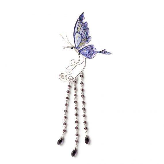 Кафф большая бабочка с подвесками фиолетовая купить