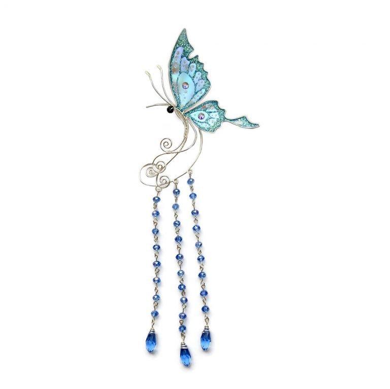 Кафф большая бабочка с подвесками голубая купить
