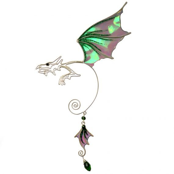 Кафф дракон заколка зеленый