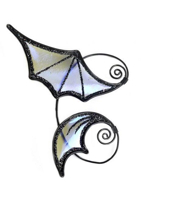 Кафф летучая мышь фиолетовая серебро