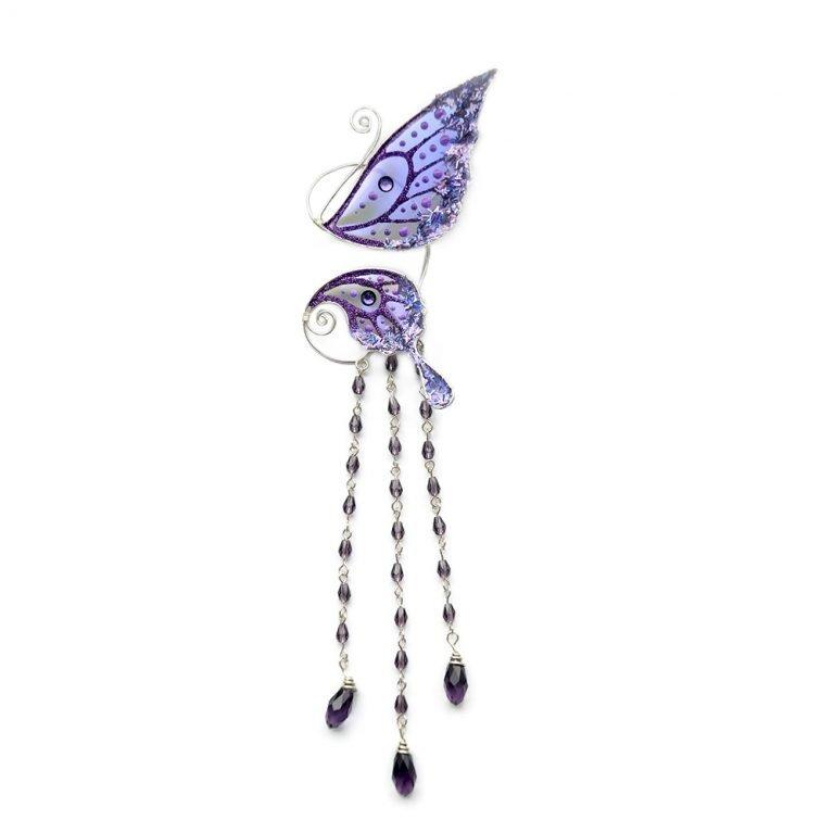 Кафф маленькая бабочка с подвесками фиолетовая купить