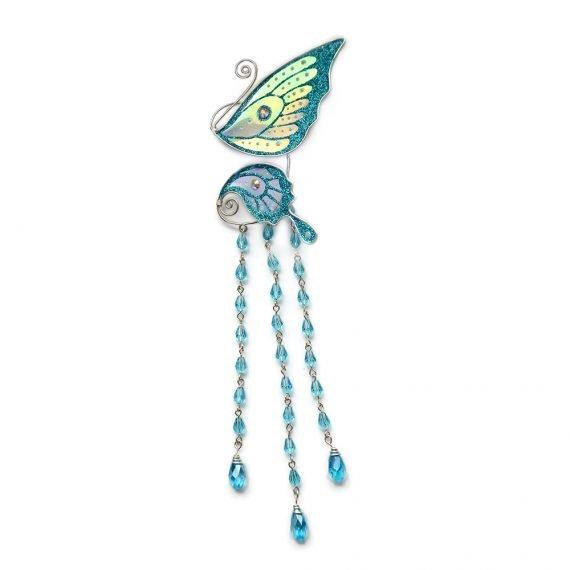 Кафф маленькая бабочка с подвесками голубая купить