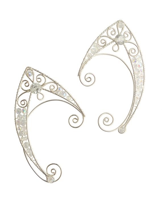 Каффы эльфийские ушки белые серьги
