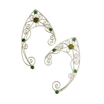 Каффы эльфийские ушки оливковые серьги