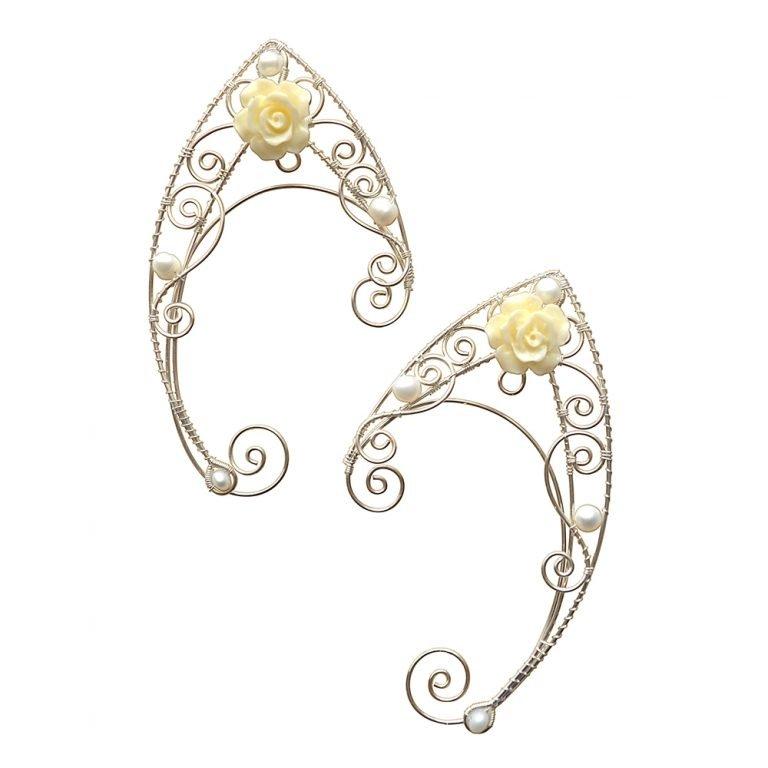 Каффы эльфийские ушки с жемчугом серьги