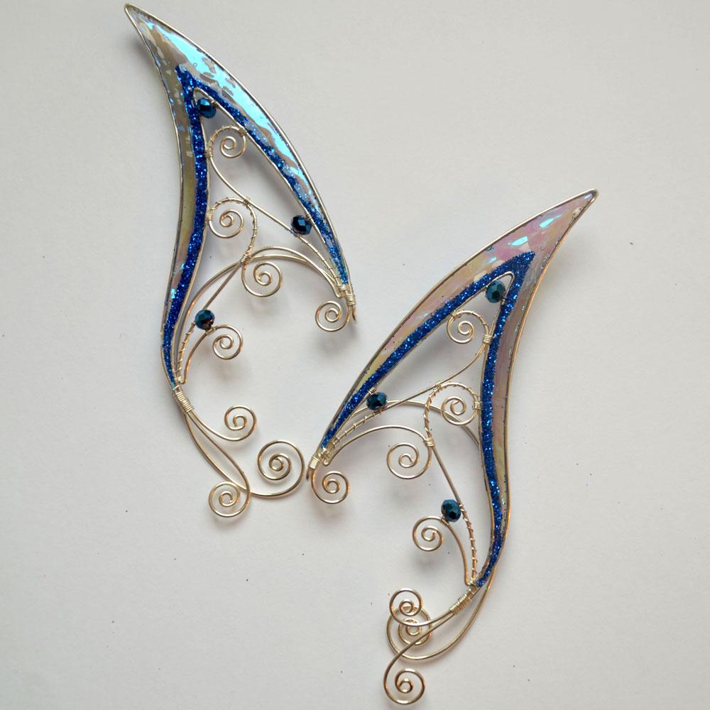 Кафф удлиненные эльфийские ушки голубые