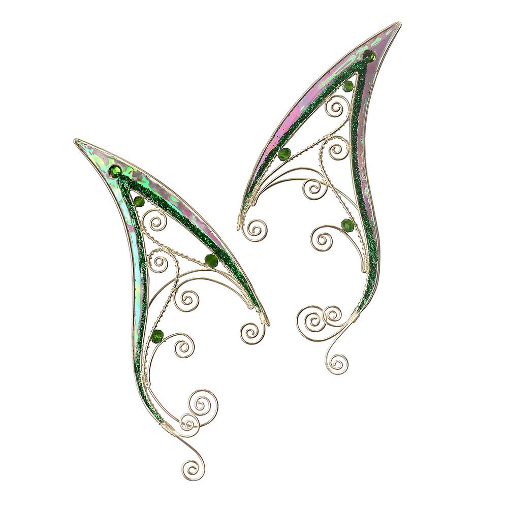 Каффы удлиненные эльфийские ушки зеленые серьги