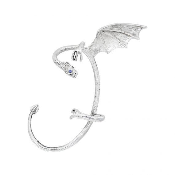 Кафф дракон блестящий серебро