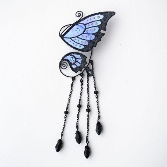 Кафф маленькая бабочка с подвесками черная