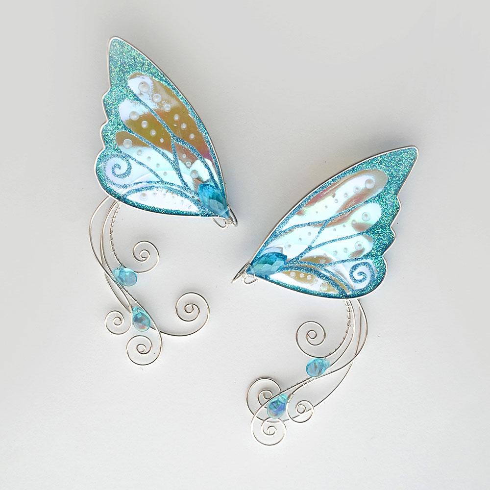 Кафф ушки бабочки голубые