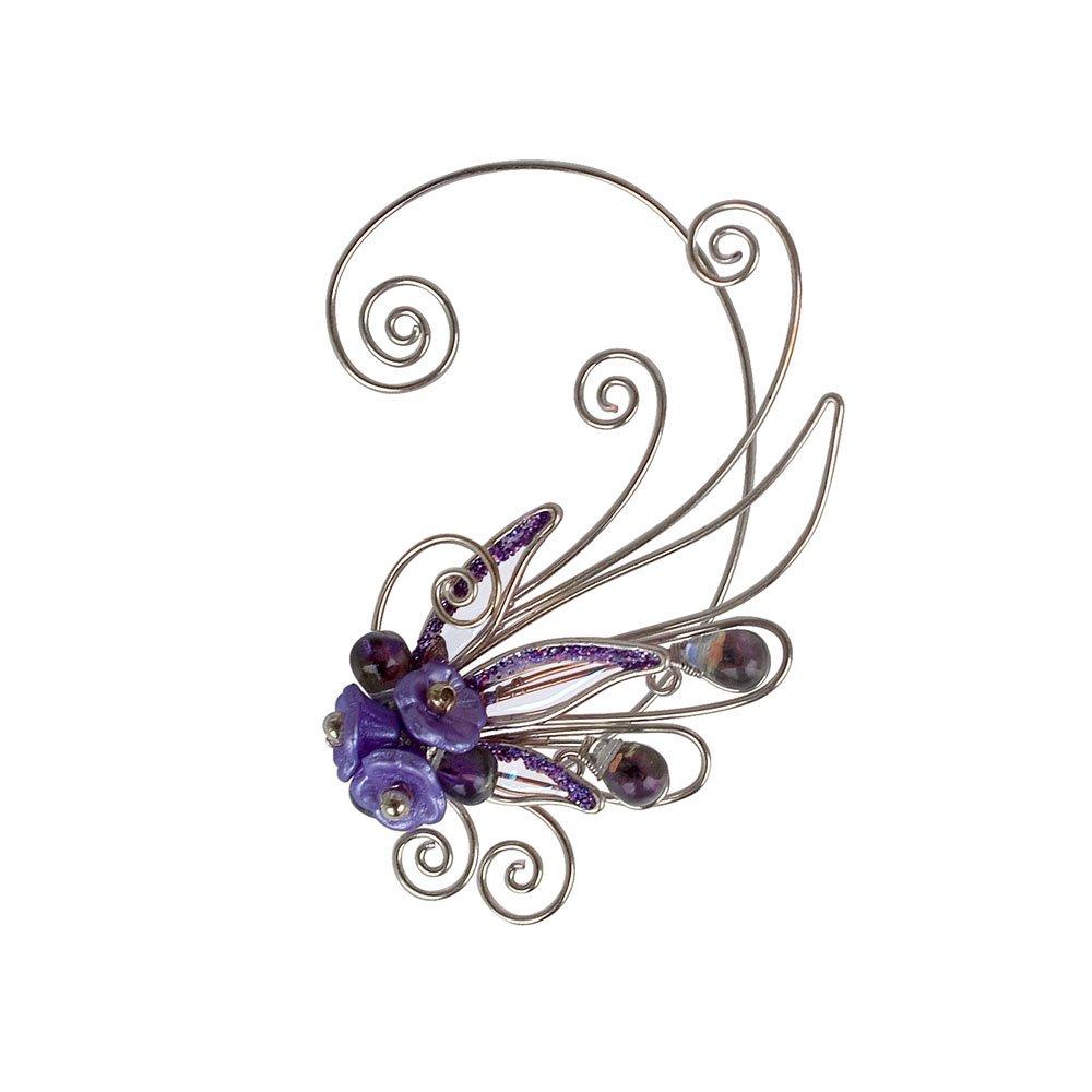 Кафф крылышко цветок сиреневое